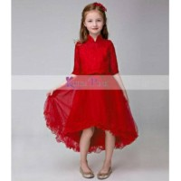 Dress Anak Pesta Korea Pink Tile Brukat Merah Murah