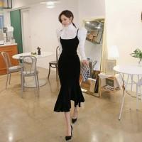 Women 2019 Spring 2 Pieces Suits Elegant Bow Neck Lantern Sleev White