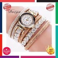 Jam Tangan Wanita Impor Duoya Merek Fashion Mewah Rhinestone Gelang