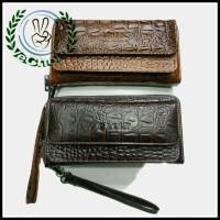 Dompet Tangan Panjang Wanita Pria Kulit Sapi Motif Buaya Asli - Bally - Hitam