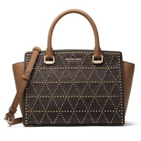 Tas Michael Kors Selma Signature Studded Medium Brown Authentic USA