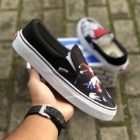 Sepatu Vans Classic Slip On JOKER BATMAN by DC COMICS Black White BNIB