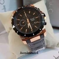 jam tangan pria / cowok alexandre christie ac 6141 black rose gold