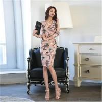 Draped Slim Autumn Party Dress Knee Length Bodycon Dresses