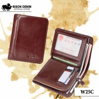 TERLARIS Dompet Kulit Pria Zipper Pocket Bison Denim Official Bifold