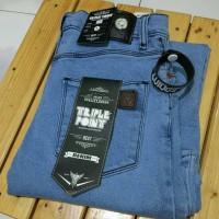 celana pria jeans TRIPLE POINT biru