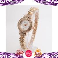 Jam Tangan Wanita Impor Fashion Berlian Imitasi Mawar Emas Gelang