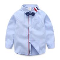 [kid trilin blue OT] kemeja anak laki-laki katun stretch biru muda