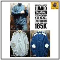 Baju Koko Big Size Jumbo - Hitam Putih Navy BYms15