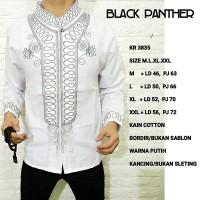 baju koko black panther baju muslim putih kr 3835 BYms265