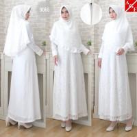 AGNES Baju Gamis Putih Wanita Baju Umroh Gamis Syari Syari Pesta 9065