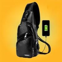 Tas Selempang Pria Kulit USB Port Charger Ransel Leather Bag Travel