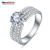 Cincin Berlian Diamond Ring Perhiasan Lapis Emas Putih JC-012