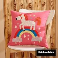 Sarung Bantal - Unicorn Rainbow Pink BG