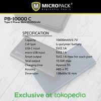 GROSIR Micropack Type C Power Bank 10 000 mAh Black PB 10000 BYpb490