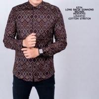 Baju Kemeja Pria Batik Songket Diamond Modern Slimfit Casual Coklat