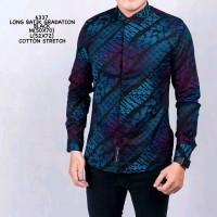 Kemeja Pria Cowok Batik Songket Gradasi Slimfit Casual Black Blue 4164