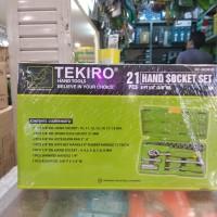 "KUNCI SOK SET TEKIRO 21 PCS 6PT - HAND SOCKET SET TEKIRO 1/4 -3/8"""