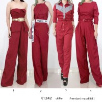 Kode K1242 Jumpsuit Red bahan Chiffon Import Premium