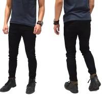 Celana jeans pensil pria skinny fit/pensil pria ukuran 27-32 - Hitam, 30