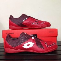 SEPATU FUTSAL MURAH LOTTO SQUADRA IN DARK RED WHITE ORIGINAL