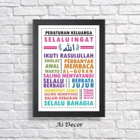 Poster Motivasi Keluarga Islami - Peraturan Keluarga - Family Rules