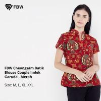 Atasan Wanita - FBW Cheongsam Batik Blouse Couple Imlek Garuda - Merah