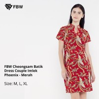 Dress Batik - FBW Cheongsam Batik Dress Couple Imlek Phoenix - Merah