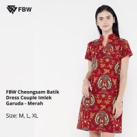 Dress Batik - FBW Cheongsam Batik Dress Couple Imlek Garuda - Merah