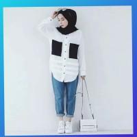 hijab muslim atasan baju wanita blouse kemeja outfit new tunik putih