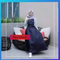 hijab muslim wanita dress maxy overall jumpsuit jumsuit rok maxi navi
