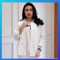 baju atasan muslim wanita outfit blouse hem blus tunik kemeja putih