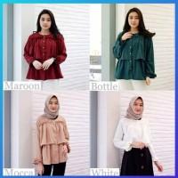 hijab muslim atasan baju wanita outfit blouse kemeja blus tunik putih