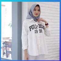baju atasan muslim wanita outfit blouse hem 1991 tunik kemeja putih
