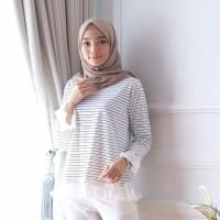hijab muslim atasan baju wanita blouse kemeja outfit salur tunik putih