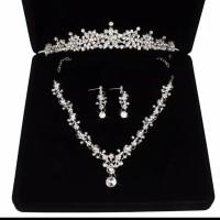Perhiasan Mahkota Kalung Pengantin Modern -Paket Aksesoris Wedding -03