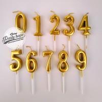 lilin angka gold / Lilin Ultah emas / Lilin Angka ulang tahun gold