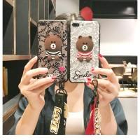 Case Samsung Galaxy J3 J5 J7 Pro J330 Cartoon Lace Bear Lanyard j7pro