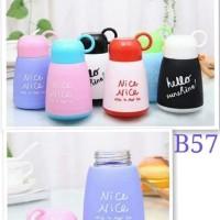 Botol minum Kaca Unik Lucu Warna Warni Tutup Cup NICE 300 ml - B57 5
