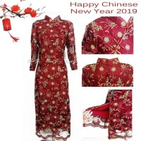 baju imlek/ kaos imlek/ DD04 Dress Imlek Xincia XL-3L | Baju Brukat