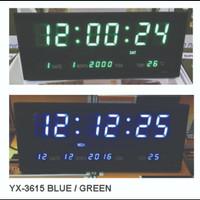 Jam Digital Dinding LED 3615 Biru dan Hijau Termurah