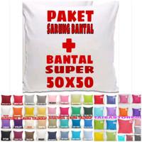 sarung bantal sofa kursi 50 x50 + bantal super