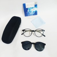 kacamata minus clip on paket frame dan lensa anti sinar UV