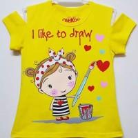(1-6 T) & (7-10 T) Kaos Sabrina Anak Karakter Draw Kuning