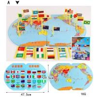 MAINAN EDUKASI MAP OF THE WORLD BENDERA DUNIA PETA DUNIA
