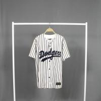 Baju baseball - JERSEY BASEBALL Pria Wanita dodgers salur putih