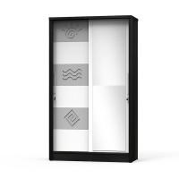 Lemari Pakaian Sliding Door Pintu Geser Venezia LPS 9800 - Hitam Putih