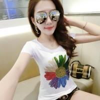 baju kaos wanita musim panas 2018 model baru baju wanita Gaya Korea