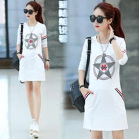 baju wanita model setengah panjang Kaos Lengan Panjang Gaya Korea
