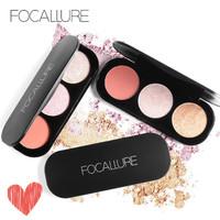 FOCALLURE 3 Warna Highlighter Palette Blush